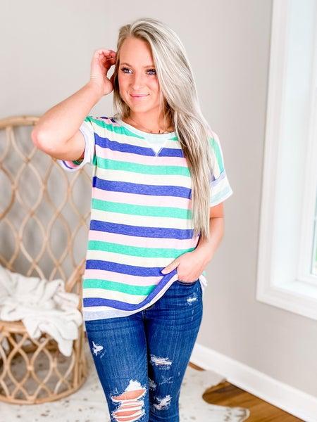 PLUS/REG Green And Pink Stripe Short Sleeve Top