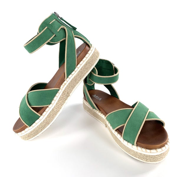 Green Mia Sandals with Criss Cross Front Straps and an Adjustable Ankle Strap