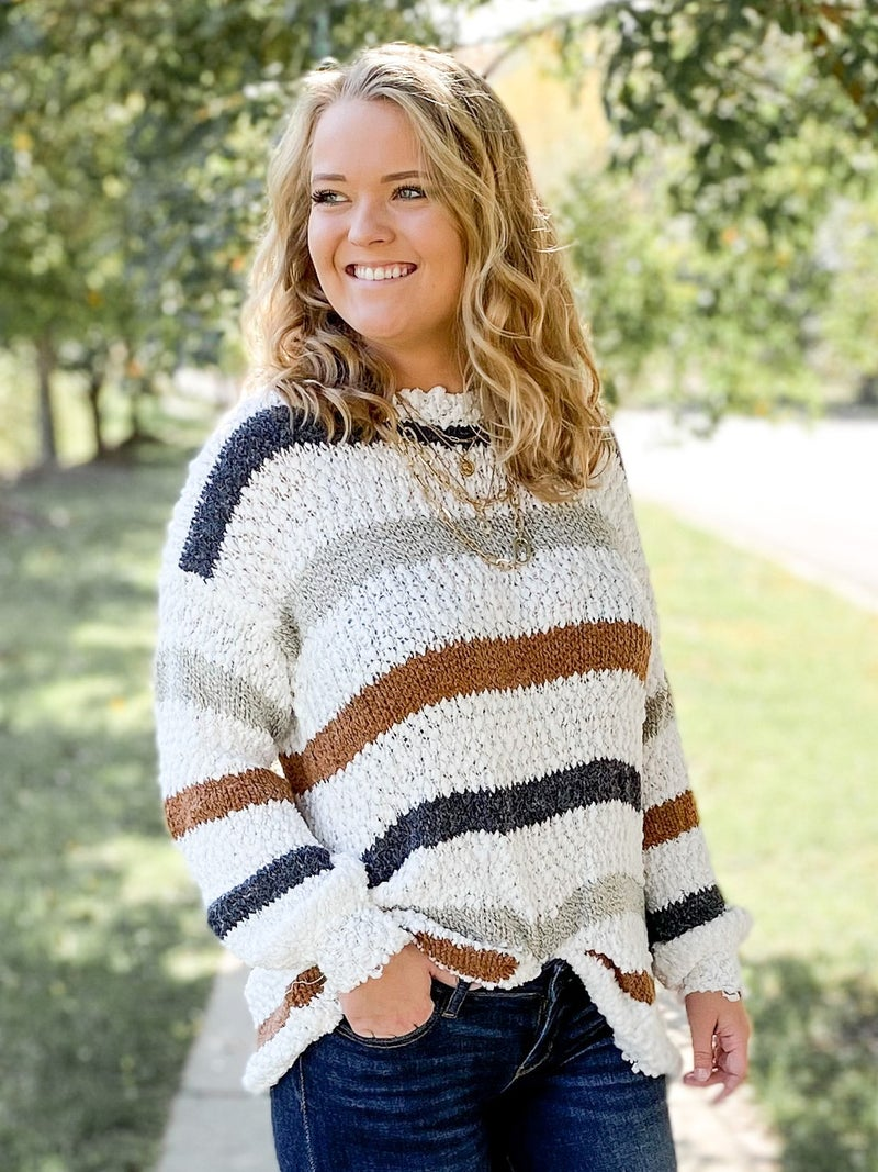 Super Soft Balloon Sleeve Stripe Sweater