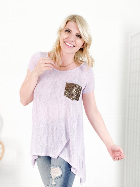 PLUS/REG Lightweight Tunic Top with Gold Sequin Pocket (Multiple Colors)
