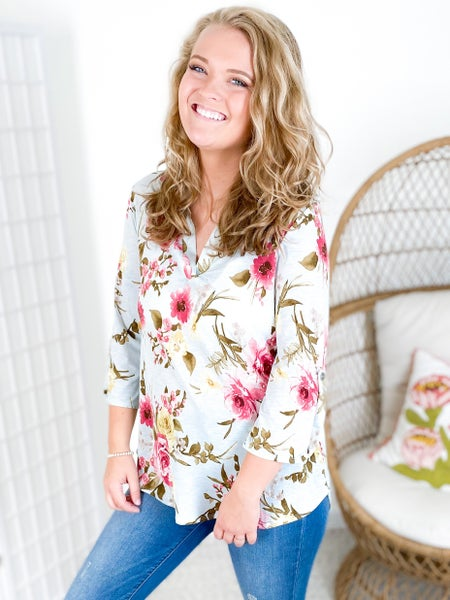 Slinky Mint Floral Print Top with Button Tab Sleeves