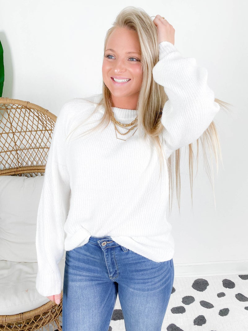Super Soft Balloon Sleeve Pullover Sweater