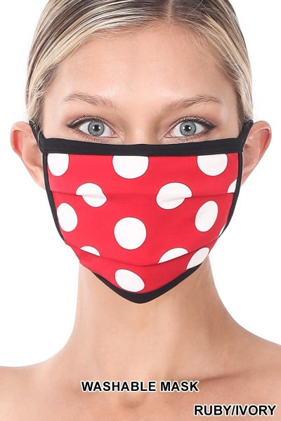 Door Buster! ONE SIZE Zenana Polka Dot Washable Face Mask (Multiple Colors)