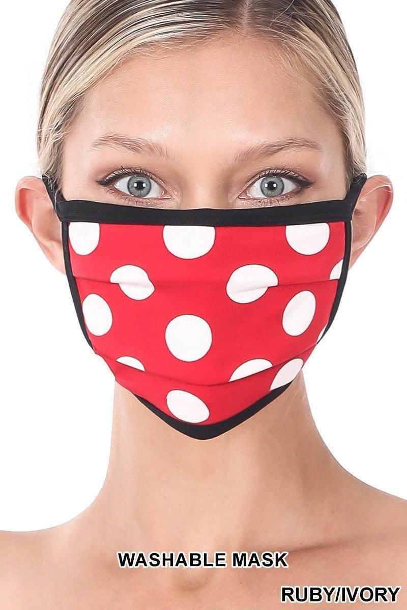 Door Buster! ONE SIZE Zenana Polka Dot Washable Face Mask (Multiple Colors)