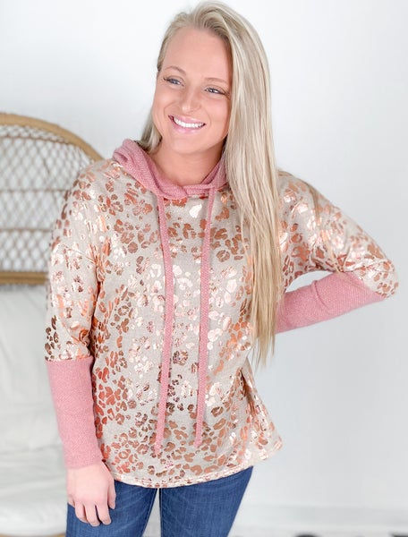 PLUS/REG Honeyme Taupe Hooded Top With Leopard Foil Detail