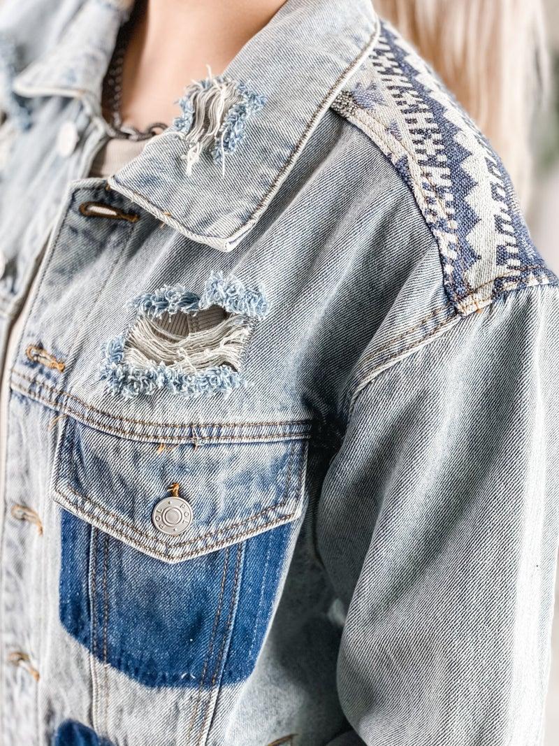 POL Long Sleeve Distressed Demin Jacket