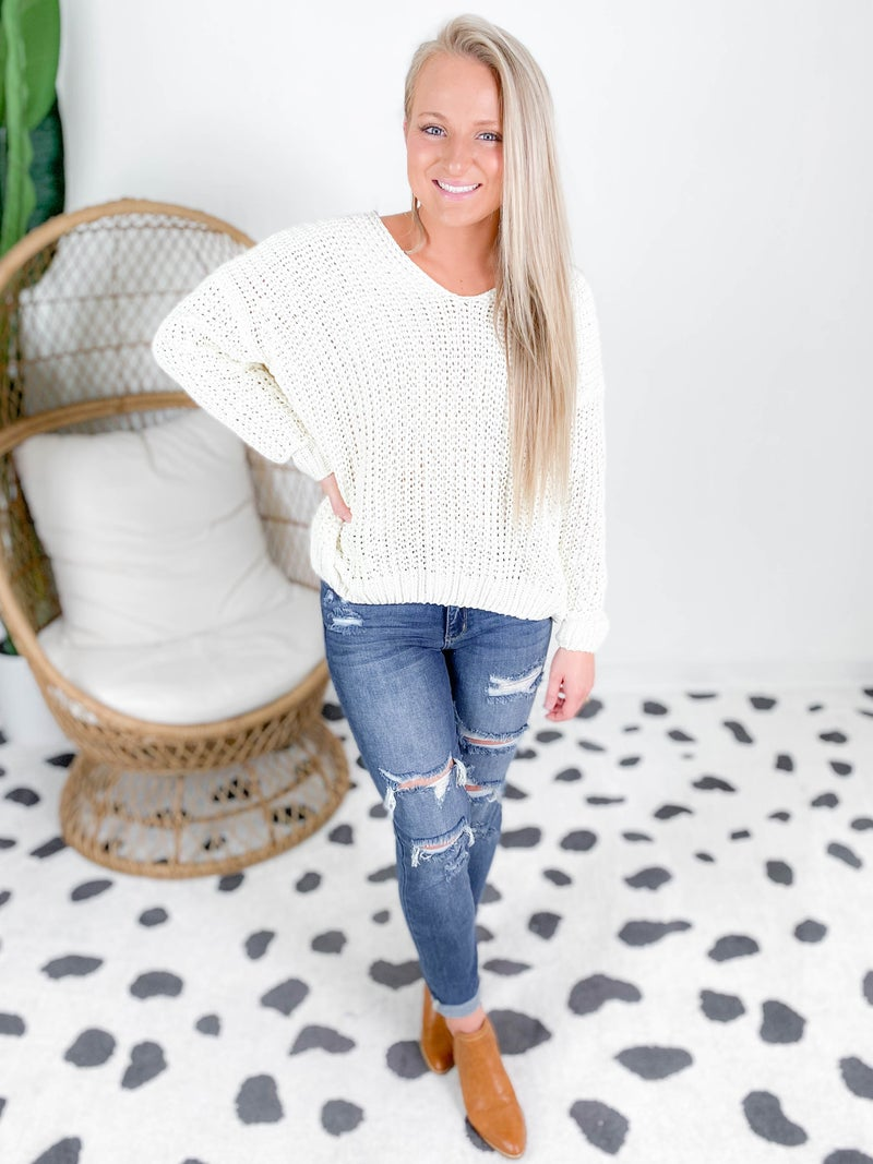 PLUS/REG Cloud Soft V Neck Chenille Sweater (Multiple Colors)