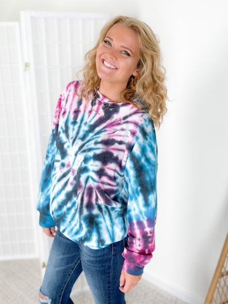 Pink & Blue Cosmic Swirl Tie Dye Sweatshirt