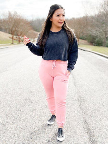 Mineral Wash Solid Color Joggers (Multiple Colors)