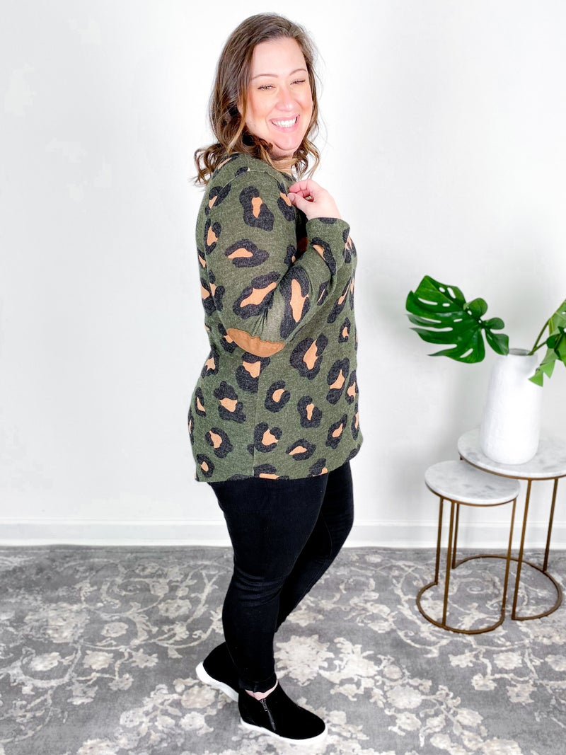 PLUS/REG  Green Leopard Print Top With Elbow Patches
