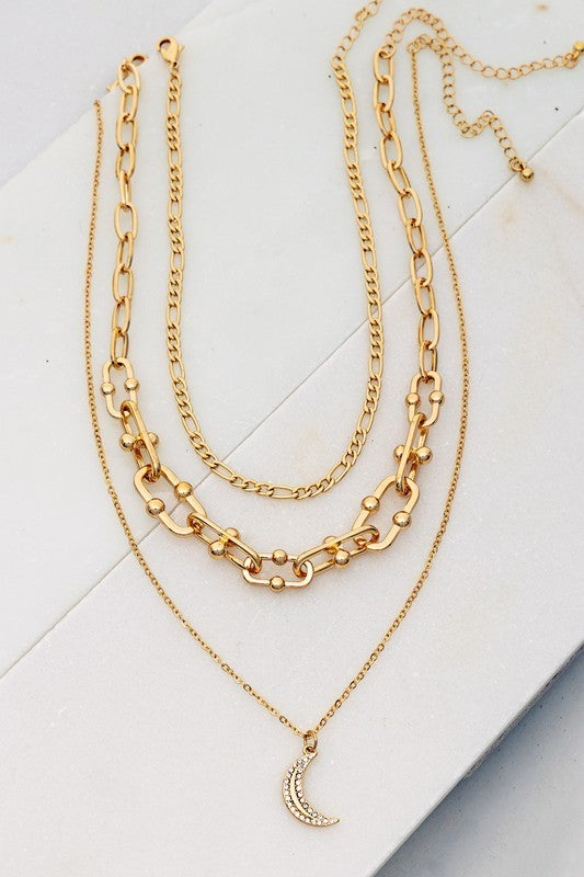 Gold Three Layer Necklace with Casting Link Chain and Crescent Charm