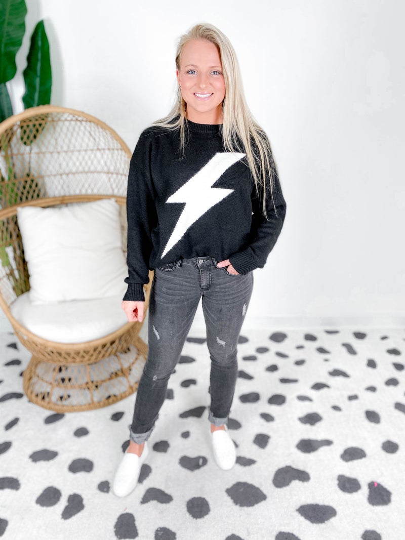 Loose Fit Thunder Bolt Knit Sweater (Multiple Colors)