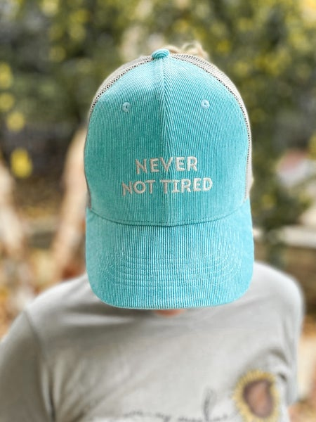 Never Not Tired Corduroy Trucker Hat