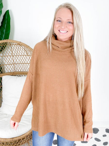 Door Buster!! PLUS/REG Waffle Knit Turtleneck Sweater (Multiple Colors)