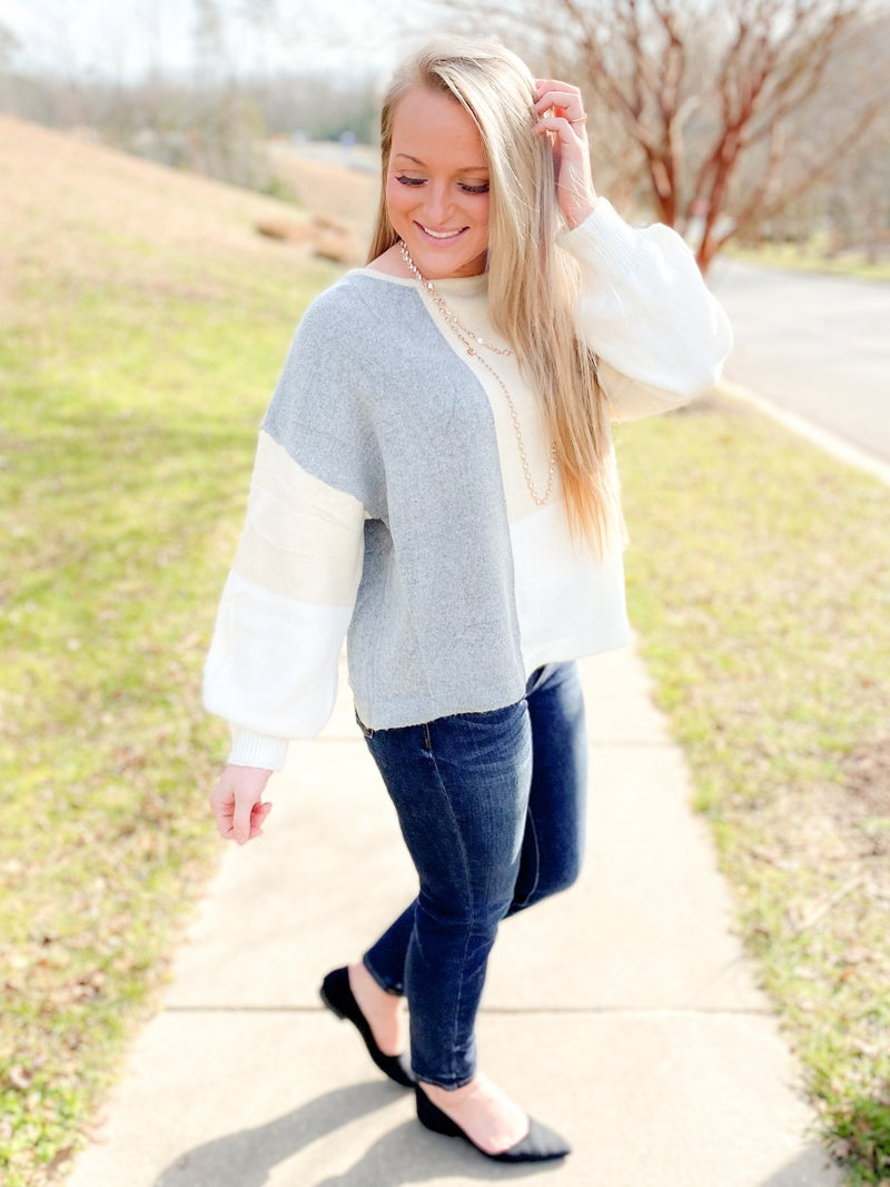 Round Neck Color Block Sweater