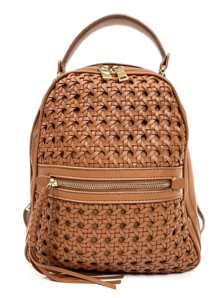 Woven Tan Vegan Backpack