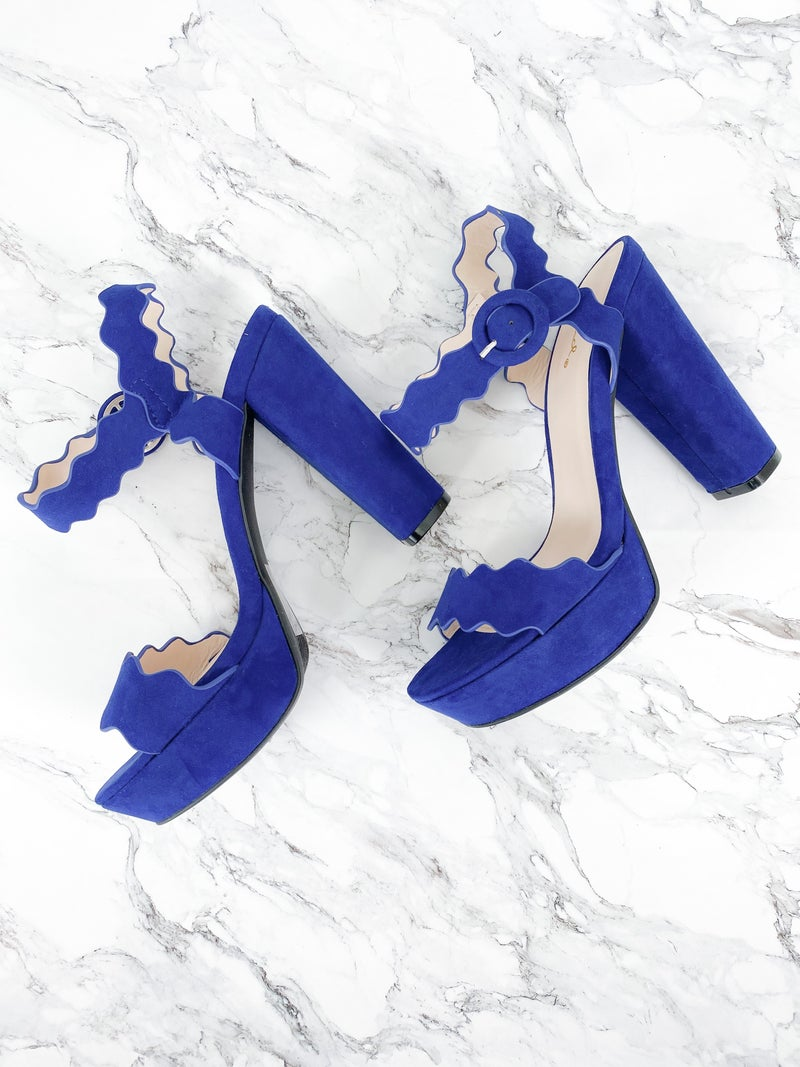 Midnight Blue Scalloped Blocked Heels