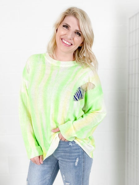 Lemon & Lime Neon Distressed Sweater