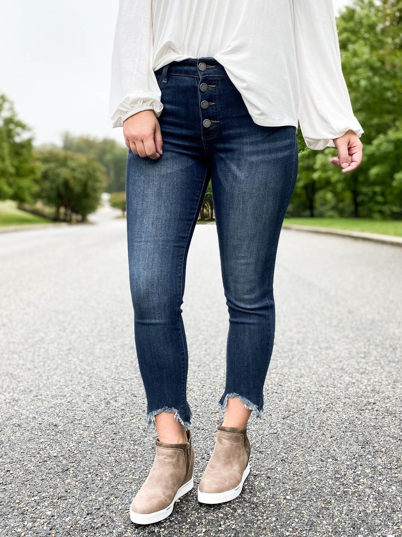 C'est Toi Dark Wash Button Fly Jeans with Raw Ankle Hem