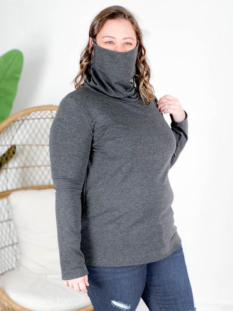PLUS/REG Long Sleeve Convertible Cowl  Neck Mask Top (Multiple Colors)