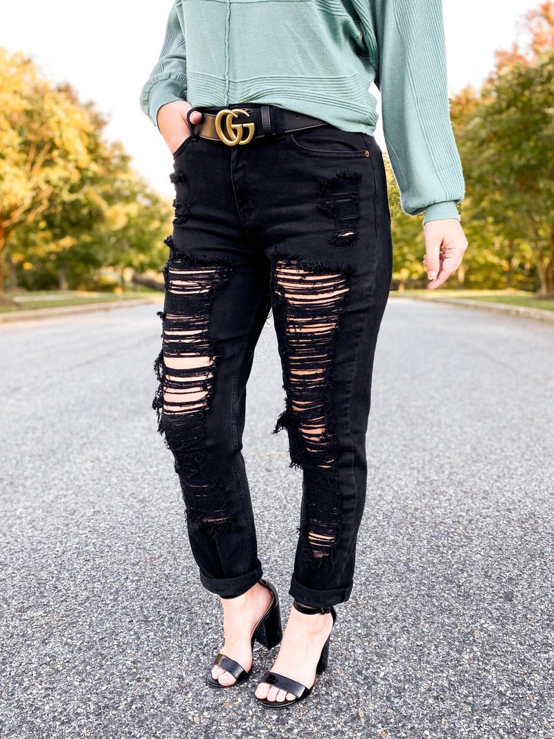 Cello High Rise Distressed Black Wash Cropped Mom Jean