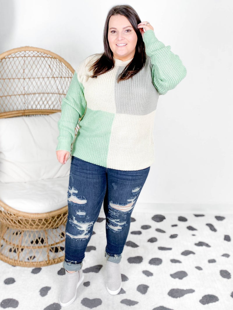 Long Sleeve Color Block Knit Sweater (Multiple Colors)