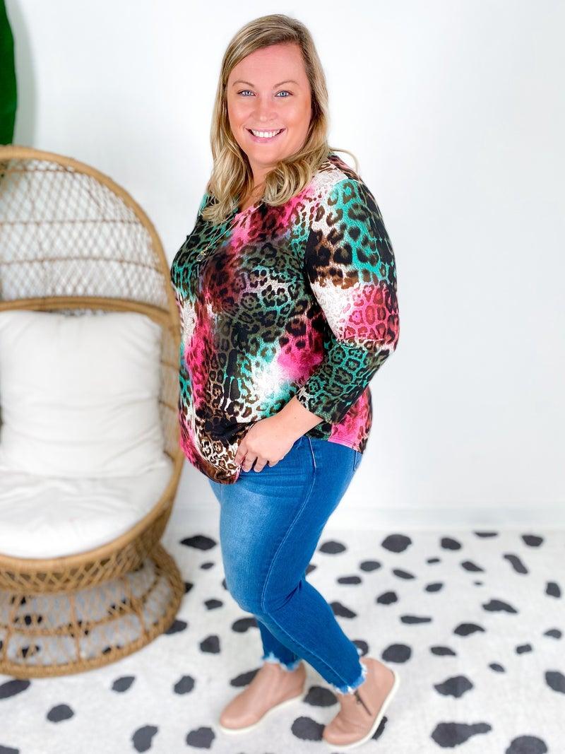 PLUS/REG Honeyme Pink Mint Leopard Tunic Top