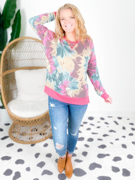 PLUS/REG Honeyme Pink & Green Tie Dye Top