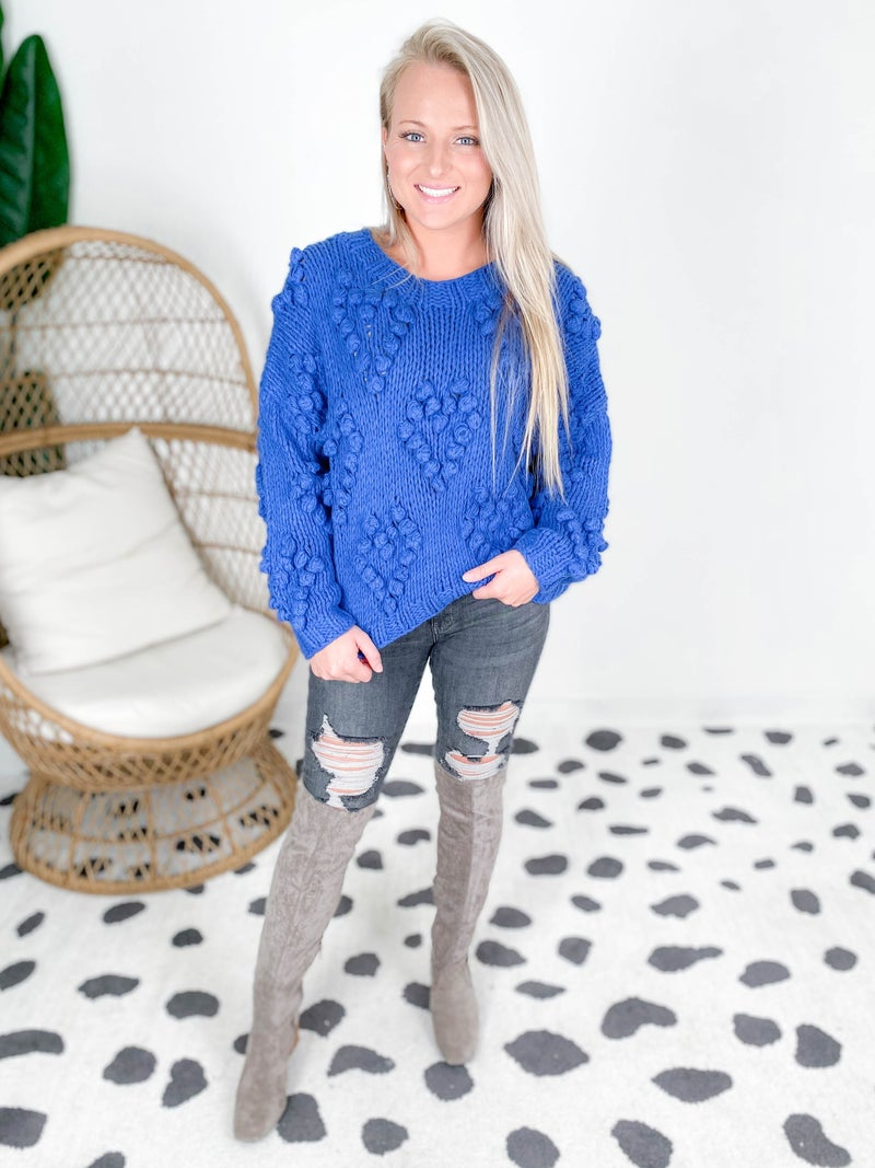 Chunky Knit Sweater with Heart Pom Detail (Multiple Colors)