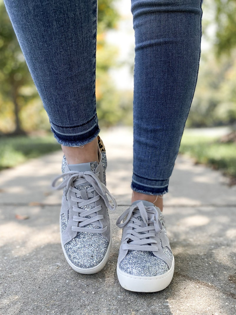 Silver Glitter Low Top Sneakers with Star & Leopard Detail