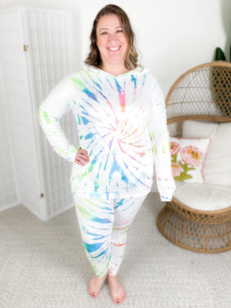 PLUS/REG White Tie Dye Long Sleeve Lounge Set