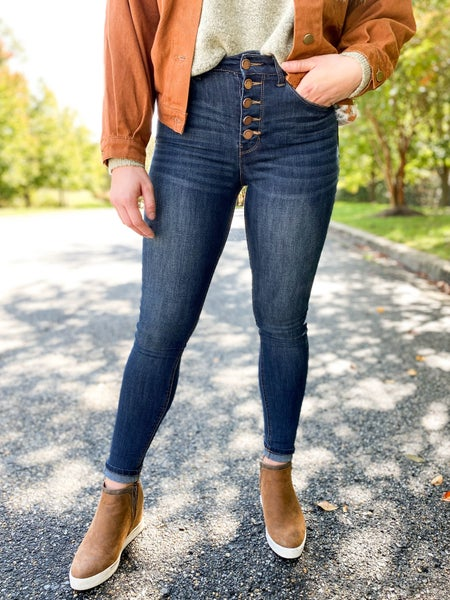 C'est Toi High Rise Button Fly Skinny Jeans