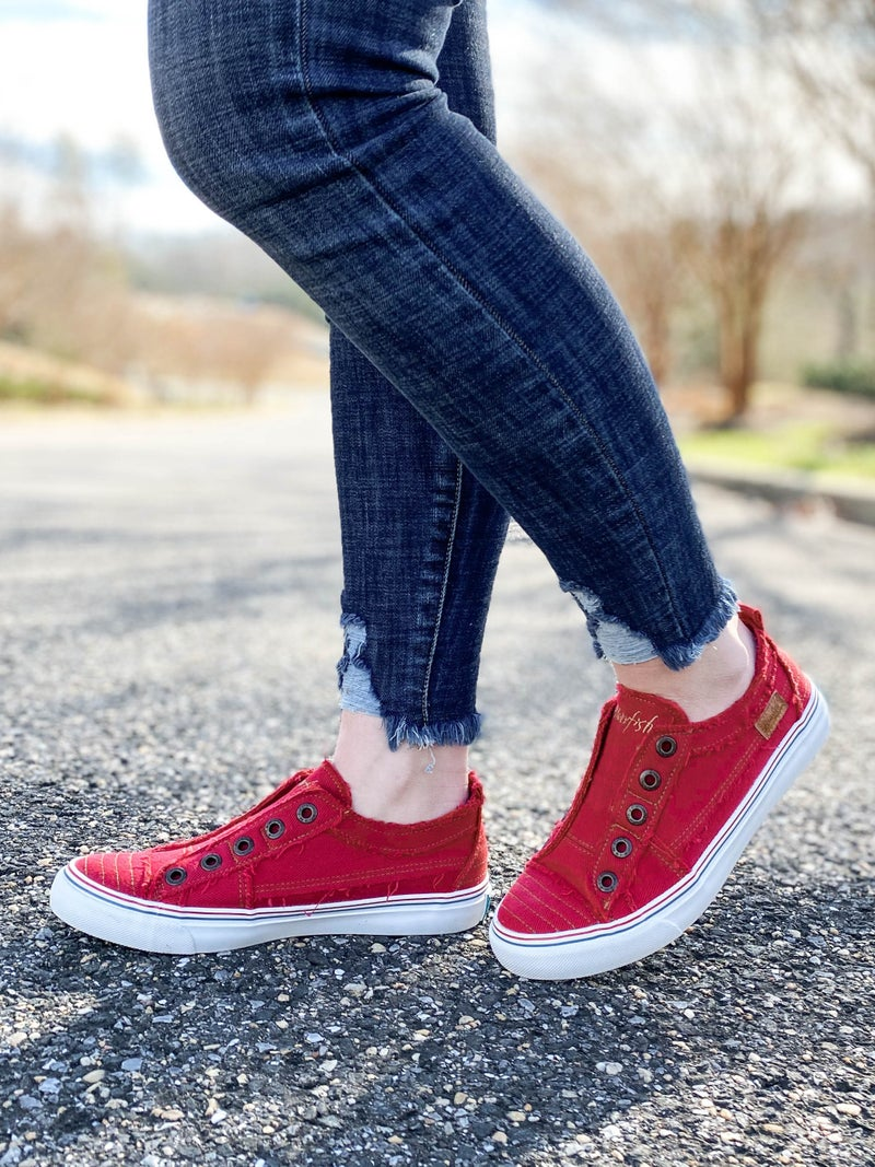 Blowfish Jester Red Distressed Unlaced Sneakers