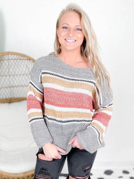 Off Shoulder Stripe Ribbed Sweater (Multiple Colors)