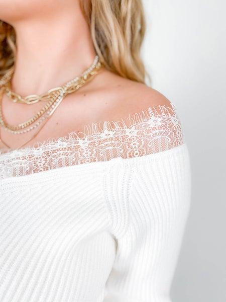 Lace Trim Off Shoulder Sweater (Multiple Colors)