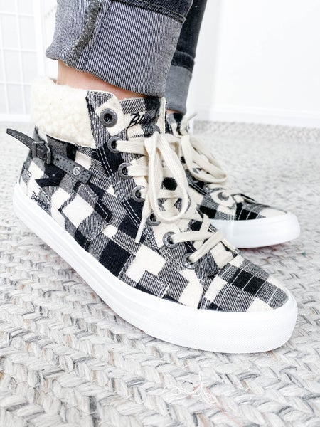 Blowfish Buffalo Plaid High Top Sneakers with Sherpa (Multiple Colors)