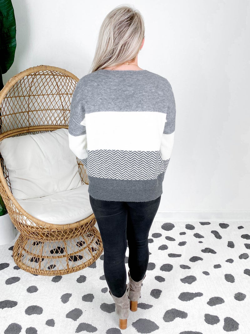 Long Sleeve V Neck Sweater With Color Block & Chevron Pattern