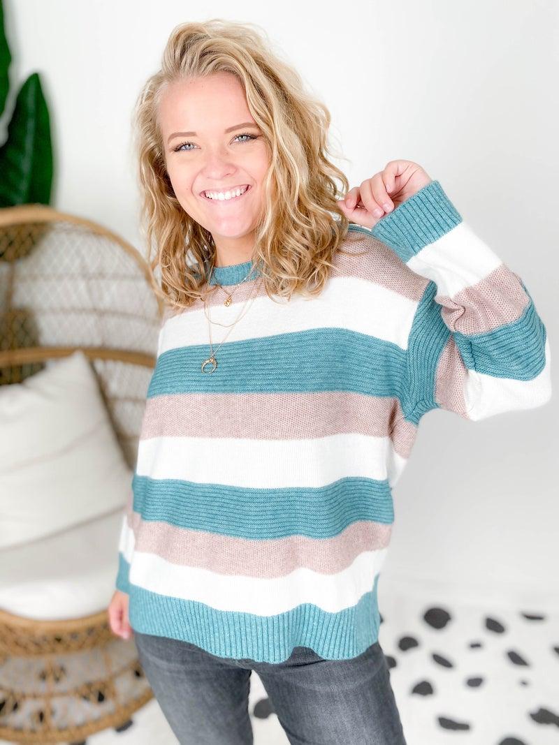 Cloud Soft Color Block Stripe Sweater (Multiple Colors)