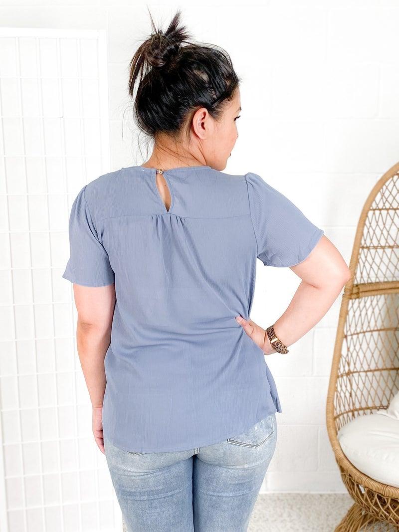 Light Blue Ruffle Detail Short Sleeve Blouse