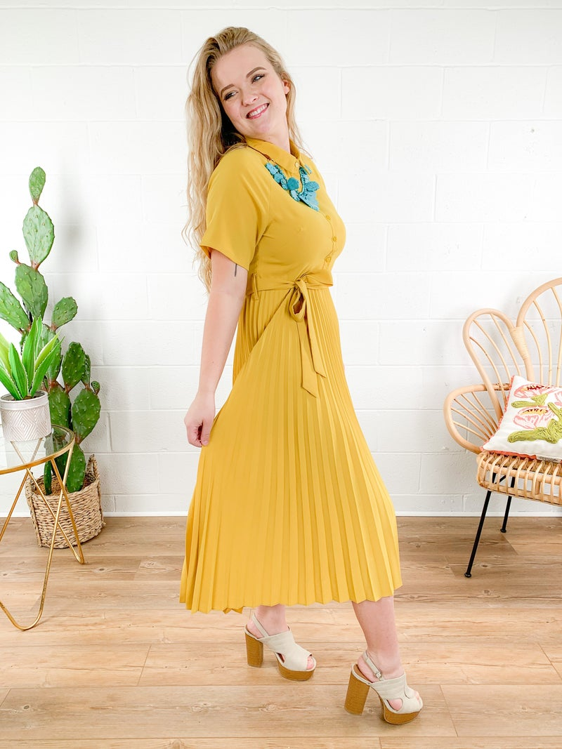 Pleated Shirt Dress (Multiple Colors)
