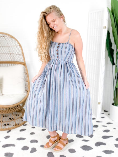 Striped Midi Dress with Button Detail (Multiple Colors)