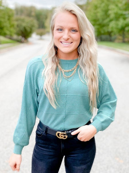 Mixed Textured Dolman Sweater (Multiple Colors)