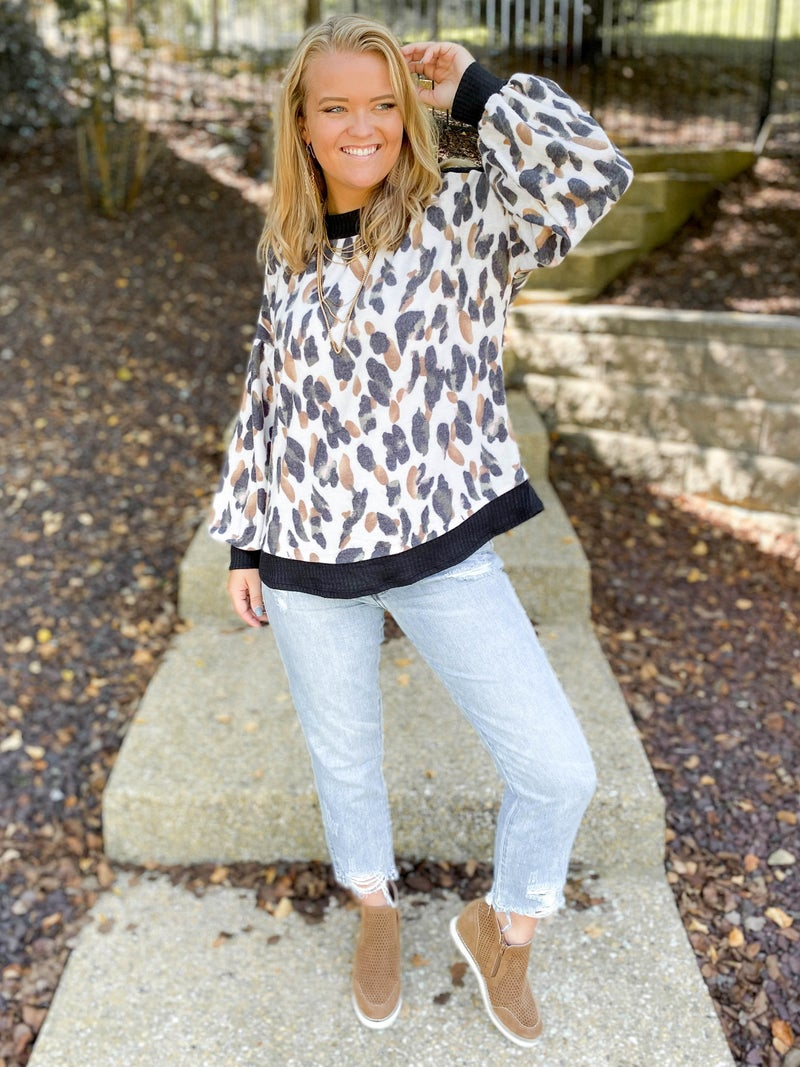 Leopard Print Soft Touch Long Sleeve Top (Multiple Colors)