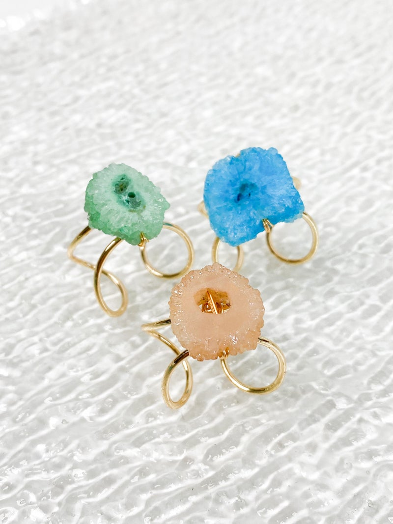 Gold and Stone Double Band Adjustable Statement Ring (Multiple Colors)