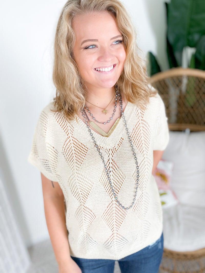 POL Natural Diamond Weave Lightweight Sweater Top