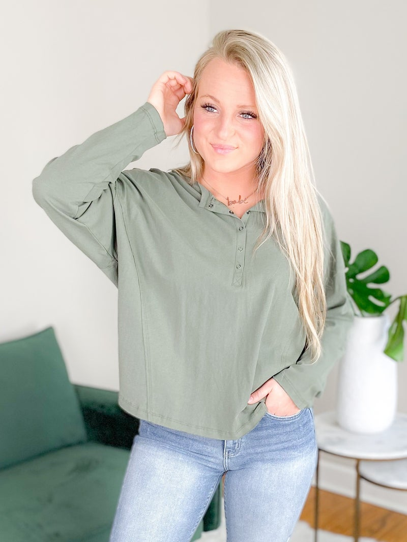 Oversize Henly Knit Top (Multiple Colors)