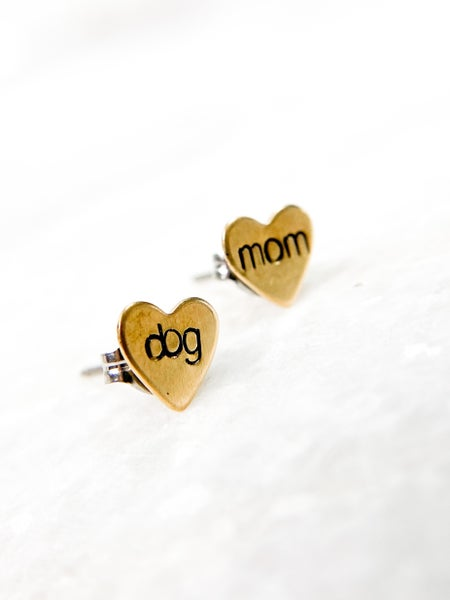 'Dog Mom' Hand Stamped Heart Earrings