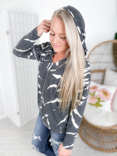 Charcoal Tie Dye Hoodie Top with Contrast Stitching