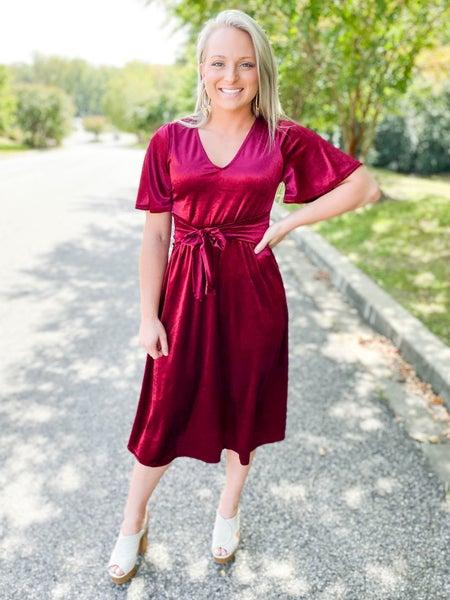 Velvet Midi Dress with Flutter Sleeves (Multiple Colors)