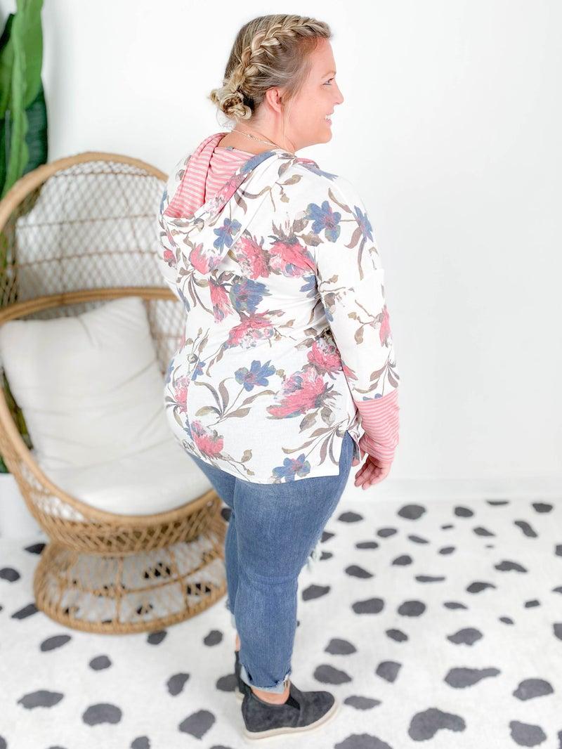 PLUS/REG Honeyme Ivory Floral Top with Striped Hood & Sleeve